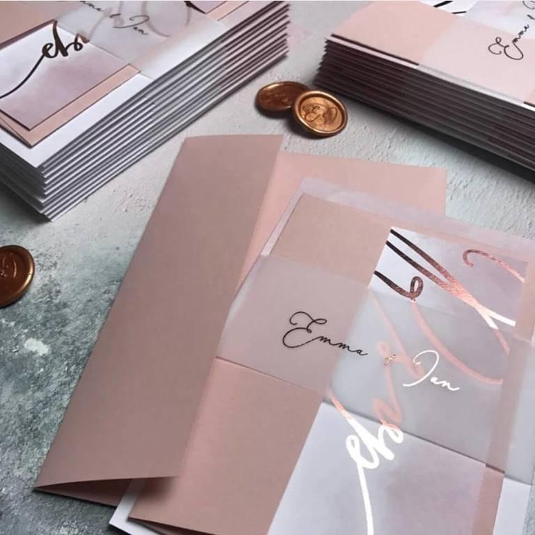 partecipazioni gioia carta pink gold