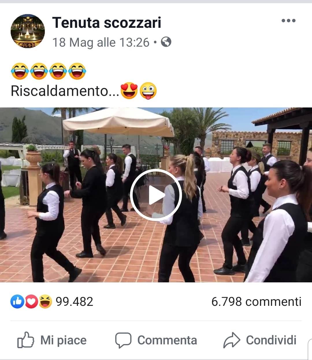 video virale ballo camerieri tenuta scozzari