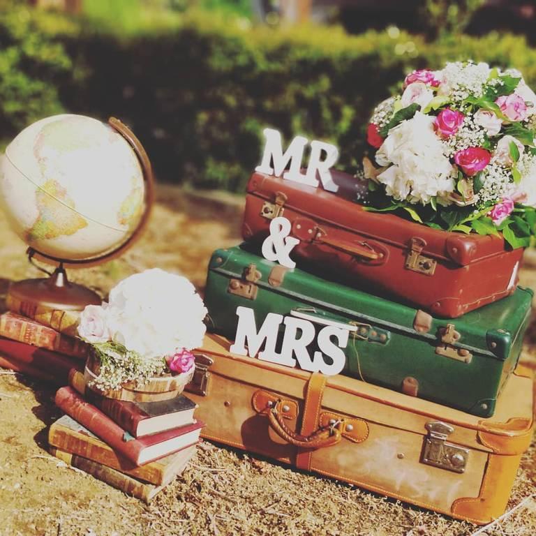 matrimonio tema viaggi valige