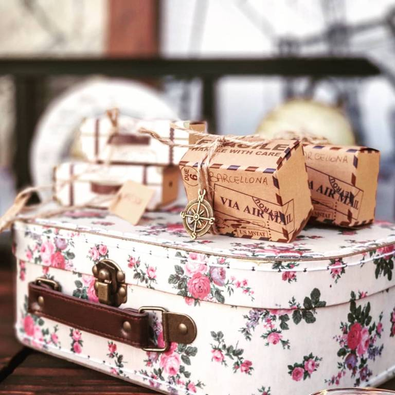 matrimonio tema viaggio valigette segnaposto