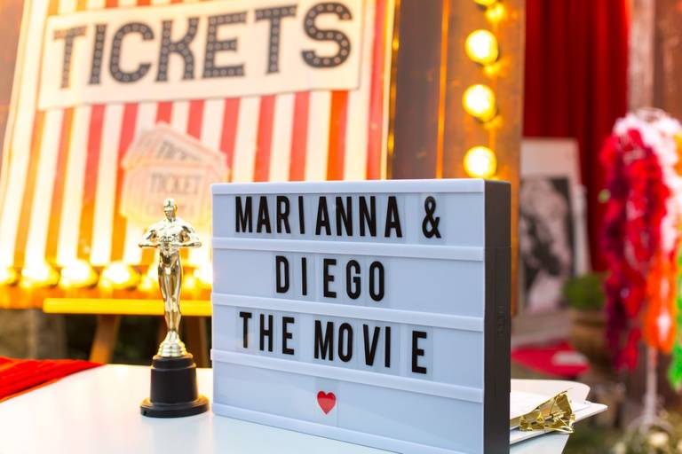 Matrimonio tema cinema welcome desk