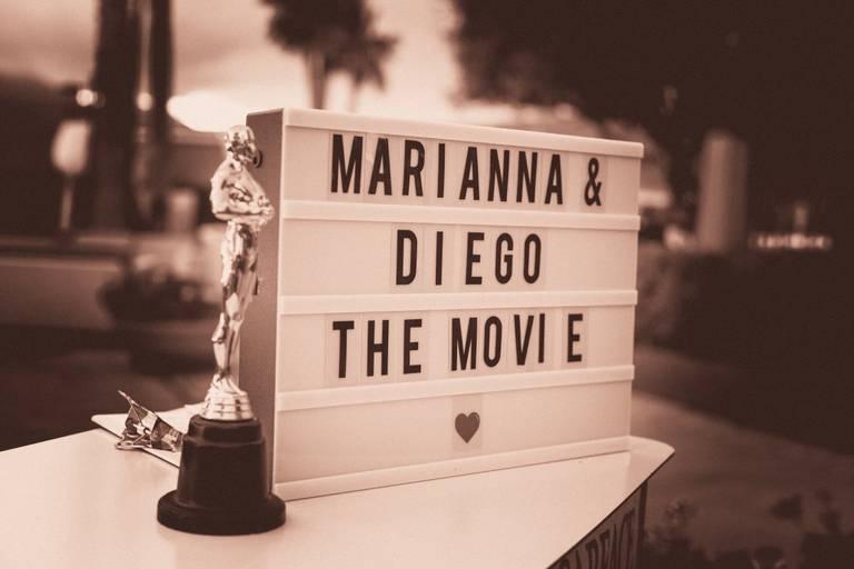 Matrimonio tema cinema insegna oscar