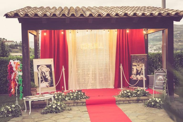 Matrimonio tema cinema red carpet