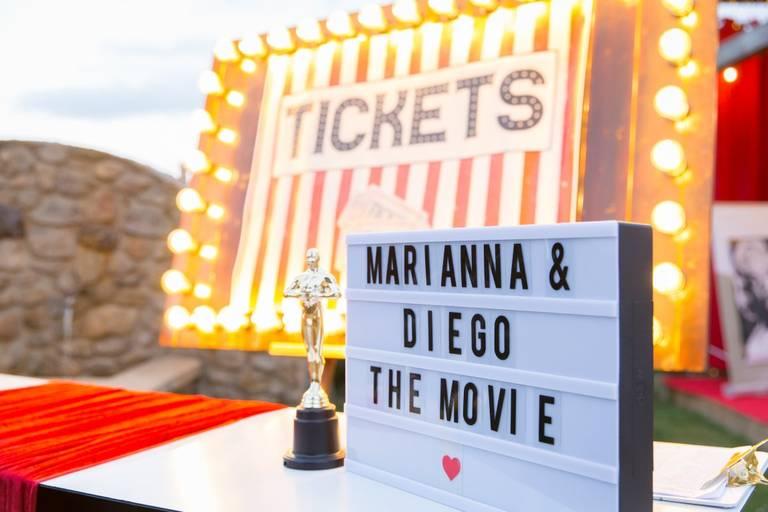 Matrimonio tema cinema ingresso