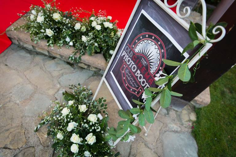 Matrimonio tema cinema tabella photobooth
