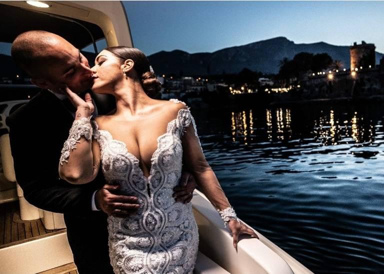 arrivo in barca matrimonio