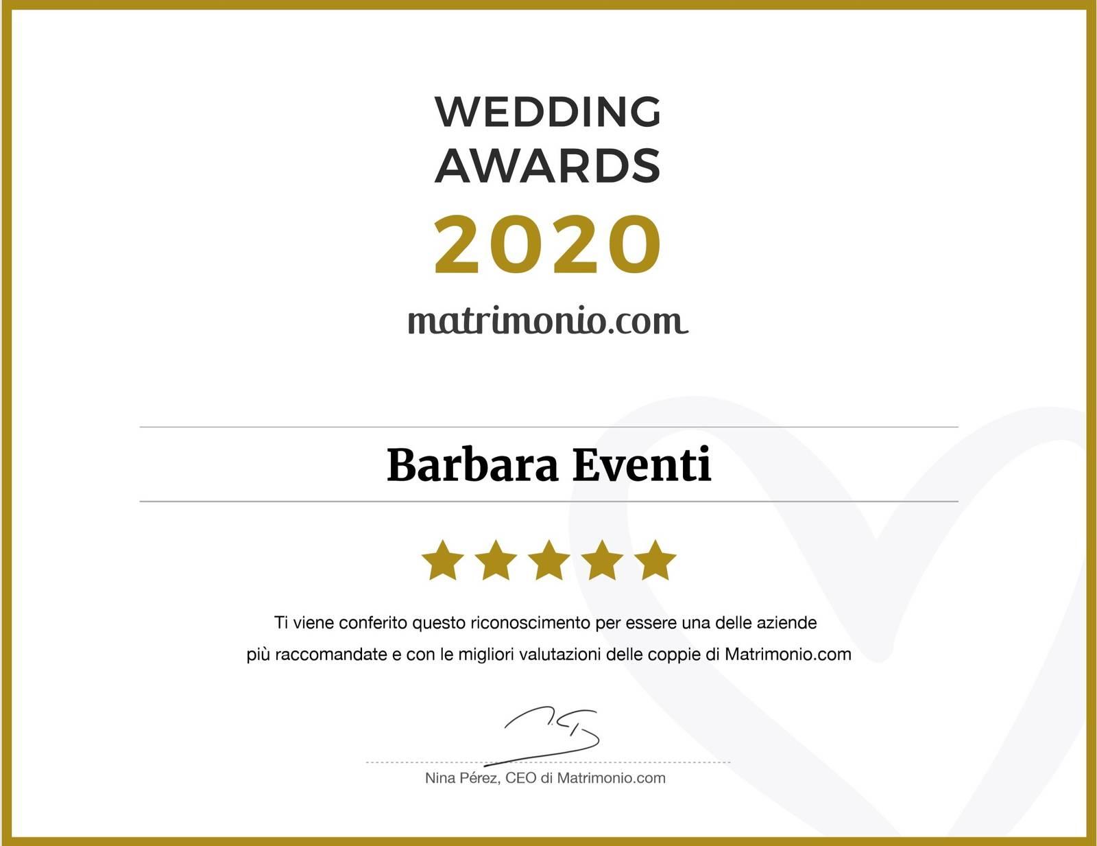 wedding awards 2020 barbara eventi